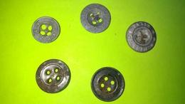 Lot De 5 BOUTONS Anciens - Diamètre Environ 14 à 17 Mm - Vêtement Armée Militaire Guerre Soldat /11 - Boutons