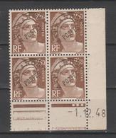 FRANCE / 1945-1951 / Y&T Préo N°  95 ** : Marianne De Gandon 2F50 Brun X 4 - Coin Daté 1948 12 01 - Préoblitérés