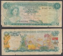 Bahamas 1 Dollar 1965 (VG-F) Condition Banknote P-17a QEII - Bahamas