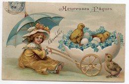 Joyeuses Pâques --1908--Fillette Sous Parapluie ,oeufs Et Poussins - Pâques