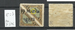 ESTLAND ESTONIA 1923 Michel 43 B E: 3 ERROR Abart Variety * Signed Richter - Estonie