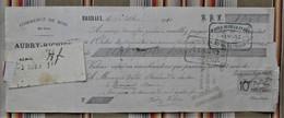 """Rare 55 BRIZEAUX """"AUBRY RICHIER""""  COMMERCE DE BOIS Pour PASSAVANT Timbre Fiscal - 1900 – 1949"""