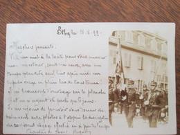Carte Photo Strasbourg Defile De Militaires .  Cachet Arrive Marlenheim  1899 - Strasbourg