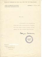 Lettre à En Tête De La Haute Commission Alliée En Allemagne - Land De Rhénanie Palatinat Mayence Mainz 1951 - Documents