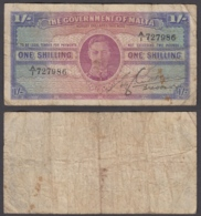 Malta 1 Shilling 1943 (F) Condition Banknote KGVI P-16 - Malta