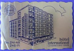 HOTEL AUBERGE MOTEL INTERNATIONAL GARE LUXEMBOURG BELGIUM FRANCE DECAL STICKER LUGGAGE LABEL ETIQUETTE AUFKLEBER - Hotel Labels