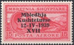 ITALIA, ITALY, OCCUPAZIONE ALBANIA, POSTA AEREA,  15 Q., 1939, NUOVO (MNH**), Mi. 296,  Sass. A2, Scott C44,  YT PA35K - Occupation 2ème Guerre Mond. (Italie)
