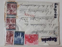 20146# LETTRE EXPRES Obl CITTA DEL VATICAN POSTA AEREA 1951 Pour REDACTION LUXEMBURGER WORT LUXEMBOURG VILLE - Lettres & Documents