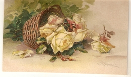 """Catherina Klein. Beautiful Yellow Roses In A Basket"" Nice Antique German Postcard - Klein, Catharina"