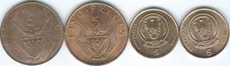 Rwanda - 5 Francs - 1965 (KM6) 1987 (KM13) 2003 (KM23) & 2009 (KM33) - Rwanda