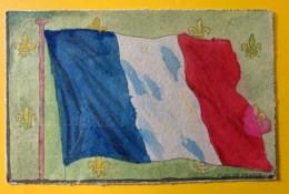 8527 - Drapeau De La France Et Fleurs De Lys Carte Coloriée à La Main - France