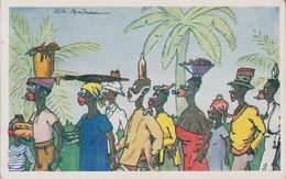 Débarquement Croisière Bateau En Afrique - Retour Du Marché Equilibre - Illustrateur Boirau - Illustrators & Photographers