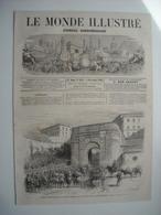 GRAVURE 1869. ITALIE. ARRIVEE A CIVITA-VECCHIA DES VOLONTAIRES CANADIENS VENANT S'ENROLER DANS LES TROUPES PONTIFICALES. - Stampe & Incisioni