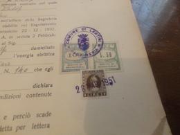 MARCHE DA BOLLO DIRITTI DI SEGRETERIA COMUME DI LENTINI LIRE 100+LIRE 50 SU FRAMMENTO-1951 - 6. 1946-.. Repubblica