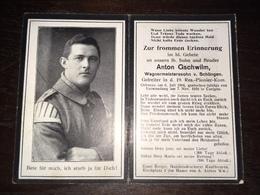 Sterbebild Wk1 Ww1 Bidprentje Avis Décès Deathcard Res. PIONIER Kom.19 NOYERS PONT MAUGIS Block B Grab 269 Aus Schlingen - 1914-18