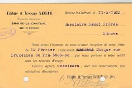 Braine Le  Chateau  , Carte Publicitaire ,Filature Et Tressage  Vanham ( 1913 ) - Kasteelbrakel