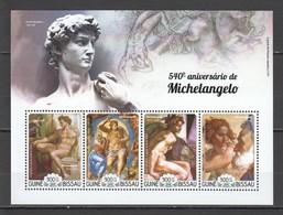 RR286 2015 GUINEA-BISSAU ART PAINTINGS 540 ANNIVERSARY MICHELANGELO 1KB MNH - Art