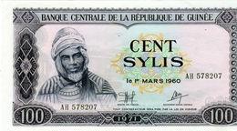 Billet De 100 Sylis Banque Centrale De La République De Guinée 1971 - Sup - - Guinée