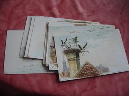 Serie 10 Cartes Edi A Strasbourg Illustrateur Cigogne Arrivee Construction Nid Depart - Expositions