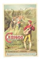 """FANTAISIE - Carte Publicitaire """" CANIGOU """" Liqueur - Abbaye De Saint-Martin , Chanson, Musicien, Guitare,... (fr75) - Publicité"""