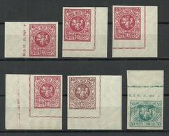 LITAUEN Lithuania 1919 Lot Michel 40 U & 44 U & 45 U MNH Nice Corners + Margin Inschrift - Litauen