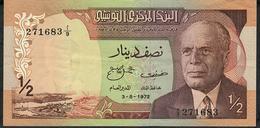 TUNISIA P66 1/2 DINARS 1972 XF NO P.h. - Tunisia