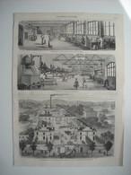 GRAVURE 1869. GRANDES INDUSTRIES FRANCAISES. LA MAISON L. T. PIVER DE PARIS, PARFUMERIE. NOUVELLE USINE D'AUBERVILLIERS. - Stiche & Gravuren