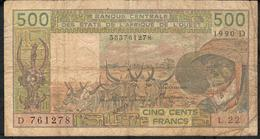 W.A.S. MALI P405Di 500 FRANCS 1990  FINE DIRTY  Only 1 Central P.h. - West African States