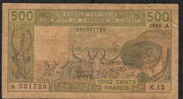 W.A.S. IVORY COAST RAREST SIGNATURE 19 P106Ag 500 FRANCS 1984 FINE DUSTY NO P.h. - Westafrikanischer Staaten