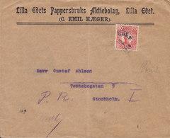 Sweden LILLA EDETS PAPPERBRUKS Aktiebolag (C. Emil Hæger) LILLA EDET 1914 Cover Brief STOCKHOLM 10 Öre Gustav V. - Schweden