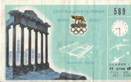 Biglietto XVII OLIMPIADE ROMA 1960 STADIO DEL NUOTO - Giochi Olimpici