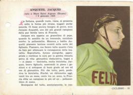 SCHEDA N° 35 ANQUETIL JACQUES CICLISMO ENCICLOPEDIA DELLO SPORT 1958/59 - Ciclismo