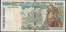 W.A.S. IVORY COAST FIRST DATE P 113Aa 5000 FRANCS (19)92 AVF NO P.h. ! - Westafrikanischer Staaten