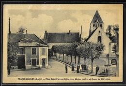CPA 78 - Plaisir-Grignon, Place Saint-Pierre Et église Avec Clocher Central Et Choeur Du XIIIe Siècle - Plaisir
