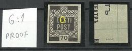 Estland Estonia 1919 Michel 4 G: 1 PROOF Essay Druckprobe On Cinema Ticket + ERROR Abart Siged K. Kokk MNH - Estland