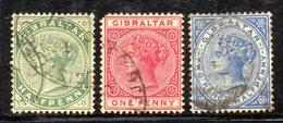 APR438 - GIBILTERRA 1886 , Tre Valori Usati (2380A) - Gibilterra