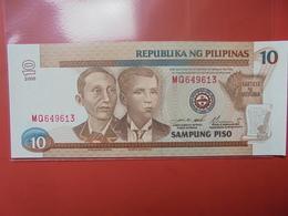 PHILIPPINES 10 PISO 1997-2001 PEU CIRCULER/NEUF - Philippinen
