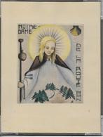 Dessin Sous Cadre Plat Ancien Compostelle Notre Dame De La Route (du Puy?) Pèlerine Coquille Bâton - Dessins