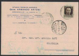 AN137  Regno 1941 Cartolina Geom. Artoni Da Brescello Per Guastalla - 1900-44 Vittorio Emanuele III