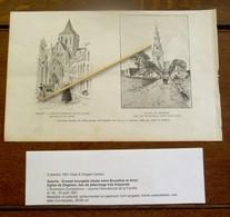 2  Oude Gravures  1891   ASSCHE --- EGLISE  De DIEGHEM - Asse