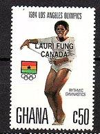 Ghana 1984 Gold Opt. 'Lauri Fung Canada' Gymnastics SG 1138 (321a) - Ghana (1957-...)