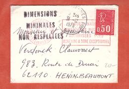 FRANCE TYPE BEQUET SUR  LETTRE AVEC MENTION DIMENSIONS MINIMALES NON RESPECTEES DE 1973 - Marcophilie (Lettres)