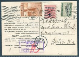 1937 Greece Ionian Bank Postcard Athens - Berlin Germany - Covers & Documents