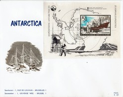 Belgien Belgie Belgium 1966 - Antartica -  MiNr Block 36 FDC - Stempel: Harlebeke - Antarktis-Expeditionen