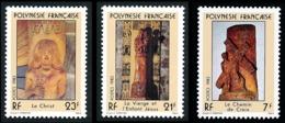 POLYNESIE 1983 - Yv. 195 196 197 **    - Sculptures Religieuses (3 Val.)  ..Réf.POL23902 - Französisch-Polynesien