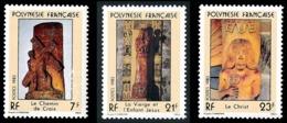 POLYNESIE 1983 - Yv. 195 196 197 **    - Sculptures Religieuses (3 Val.)  ..Réf.POL23903 - Polynésie Française