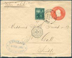 1901 Uprated Stationery Brun & Co. Buenos Aires - St Gallen, Switzerland. Buenos Aires / Bordeaux Ligne Paquebot - Argentine