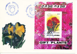 Korea North FDC 19-8-1989 Gift Plants Minisheet With Cachet - Korea, North