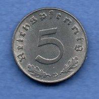 Allemagne   - 5 Reichspfennig  1941 D-  état SUP - [ 4] 1933-1945 : Third Reich