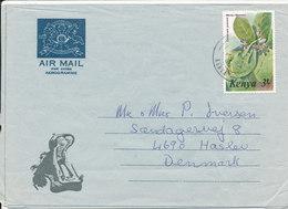 Kenya Aerogramme Sent To Denmark 18-4-1986 (the Stamp Is Bended At The Right Upper Corner) - Kenya (1963-...)